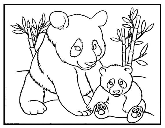 Items similar to Panda coloring sheet, Panda coloring page