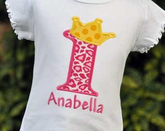 Girls Princess Birthday Shirt - Princess Crown - Personalized Princess Shirt - Girls Princess Dress - Birthday Number with Crown