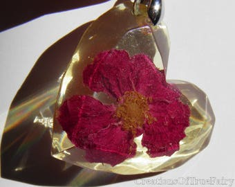Valentines day gift Red rose heart pendant Romantic jewelry Womens gift girlfriend birthday Real flower jewelry Art deco Wedding favor 189