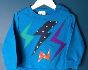 Lightning Bolts Applique Kids Sweatshirt Blue One off Sample Size 6 - 12 months