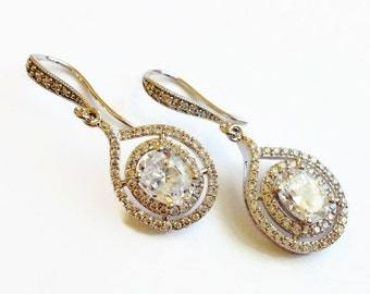 Cubic Zirconia Oval Teardrop Bridal Earrings - Bridesmaid Gift - Wedding Jewelry
