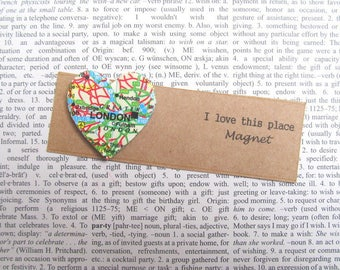 London, UK map magnet: heart shaped magnet made with a vintage map of the UK. Ideal new home gift, birthday gift, best friend gift.