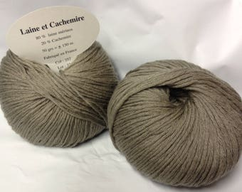 5 balls /couleur beige wool and cashmere / made in FRANCE