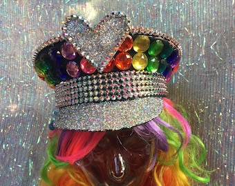 Rainbow rhinestone bling military captains hat with rainbow and silver trim and tutti fruity glitter top - Fairylove