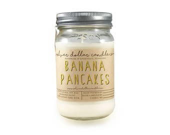 Scented Candle Banana Pancakes // 16oz \\ Soy Wax Candles, Banana Scent, Banana pancakes, gifts for women, cute, candle gift, mens candle