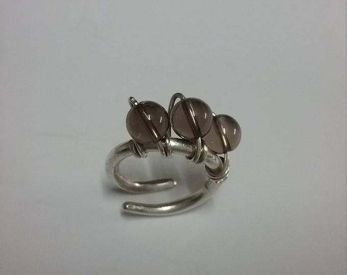 Smokie Quartz Torc Ring
