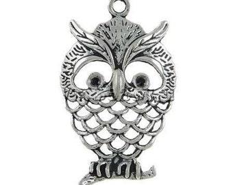 2pc antique silver metal large owl pendant-856