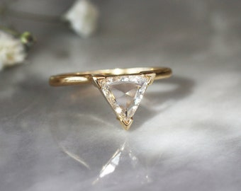Triangle Diamond Ring, Rose Cut Diamond, Unique Engagement Ring, Trillion Diamond Ring, 14k Yellow Gold Engagement Band, Conflict Free