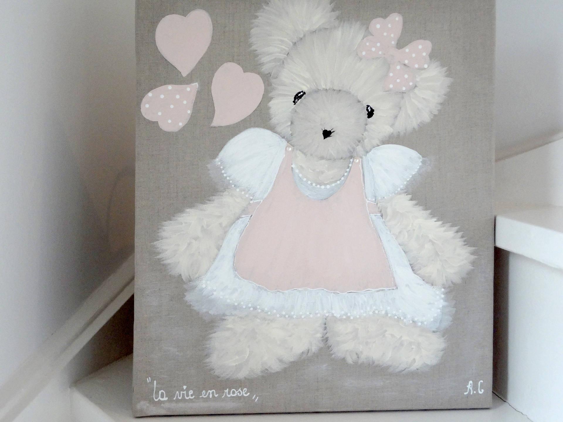 Tableau Peinture Pour Petite Fille : tableau ourson peinture pour chambre de petite fille ~ Nature-et-papiers.com Idées de Décoration