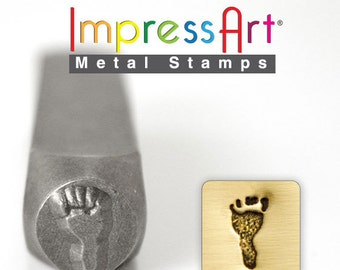 "LEFT FOOT PRiNT LaRGE METAL STaMP 9.5mm 3/8"" Steel Punch ImpressArt Stamping Child Jewellery Tool Jewelry Making Tool"