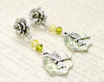 Dragonfly  Dangle Earring, Dragonfly Rose Earrings, Dangle Earring