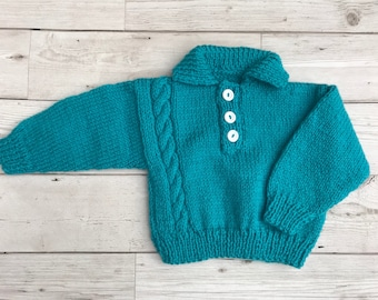 Baby cardigan, baby sweater, hand knitted baby cardigan, hand knitted baby sweater, teal coloured baby cardigan, 0-3 months