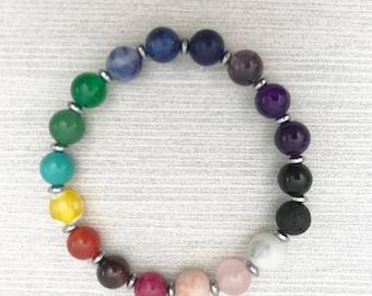 Rainbow stone bracelet with Hematite and Lava