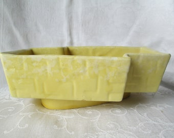 Vintage Pottery Planter, UPCO Ungemach Mid Century Geometric Yellow Pottery