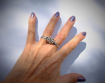Silver Ring For 2 Fingers, Old Tribal Ring, Rajasthan Ethnic, Tribal India, Hippie Ring, Gypsy Bells, Bohemian Silver Ring, Belly Dance Ring