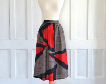 80s Abstract Midi Skirt High Waisted Skirt - 26 inch waist