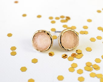 Light Pink Druzy or Drusy Stone Post Earrings,Tiny Pink Druzy Earring,  Bridal Earrings, Bridesmaid Earrings,Birthday Gift, Style No. 2056