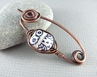 Owl Brooch Shawl Pin Copper Wire Wrap Scarf Pin Sweater Pin Fibula Wire Wrapped Jewelry Owl Shawl Pin Copper Jewelry