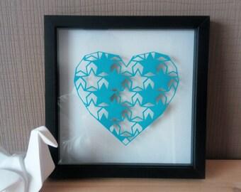 "Kirigami ""Heart and stars"". Papercutting"