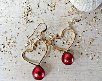 Red Heart Earrings, Gold Heart Earrings, Red Pearl Earrings, Love Earrings, Gold Heart Pearl Earrings, Cranberry, Crimson, Pomegranate