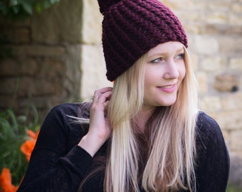 Chunky Knit Hat - Wool Knit Hat - Chunky Crochet Beanie - THE CLAIRE - Pompom Beanie Hat