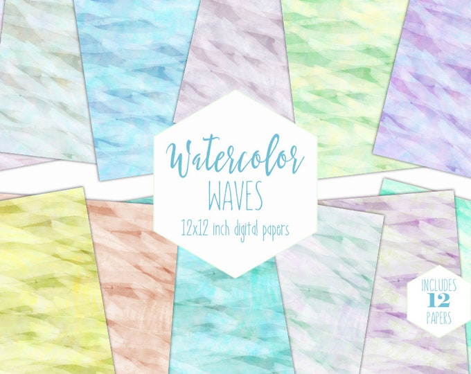 RAINBOW WATERCOLOR Digital Paper Pack Light Backgrounds Abstract Waves Scrapbook Paper Pastel Wash Printable Textures Baby Shower Clipart