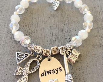 Harry Potter Always stretch charmed beaded bracelet, white bracelet.