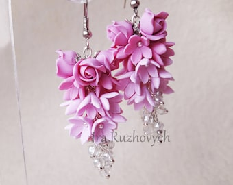 Pink Flower bunches earrings, roses, syringa, long earrings