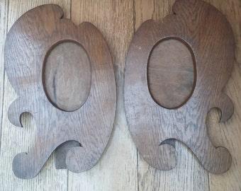 Vintage Pair of Treen Photo Frames Art Nouveau Oak Picture Frames