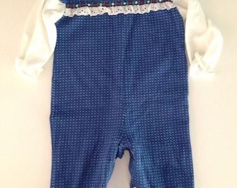 Vintage 70s 80s Healthtex Blue Polkadot Romper 12-18 months