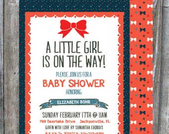 5x7 Bow Baby Shower Invitation - GIRL - Digital Download