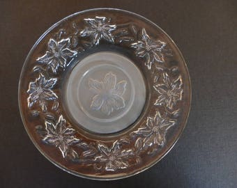 Christmas Plate, Frosted Glass Poinsettia Plate, Vintage Glass Plate, Poinsettia Plate, Glass Poinsettia Plate