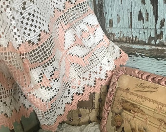 Vintage Curtains Pink White Crochet Lace Shabby Chic C58