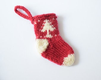Knit mini Christmas stocking/ SET OF 8 small miniature socks/Christmas stocking ornaments/ Christmas tree decorations/ Christmas gift