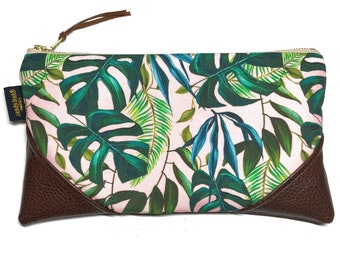 Large Pale Pink Monstera Zipper Pouch / Clutch with inside lining and Zipper Pull or Leather Wrist Strap