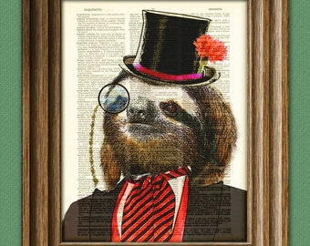 Dandy Sloth with top hat and monocle in suit illustration beautifully upcycled dictionary page book art print