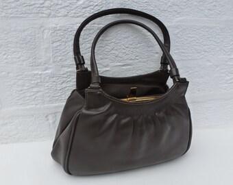 Handbag womans gift leather bag 60s purse vintage handbag brown leather bag ladies handbag ecofriendly leather purse small vintage brown bag