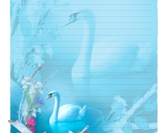 "Digital Stationery Design by Leanne Peters - ""Inner Grace"" - Swan Art - Spring Art - Fantasy Art - Lined Stationery Art"