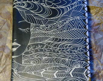 Book cover in Painted leather. Rustic finish. Elegant. Boho Chic