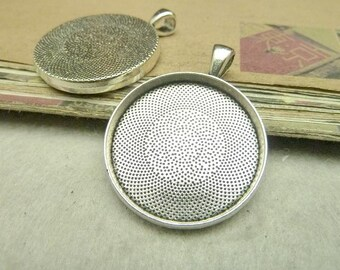 10 Antique Silver 30mm Round Bezel Cups AC7971