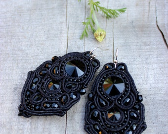 Black dangle earrings, Birthday gift for woman, Anniversary gifts, Soutache Black crystal earrings, Classic jewelry, Black Statement jewelry