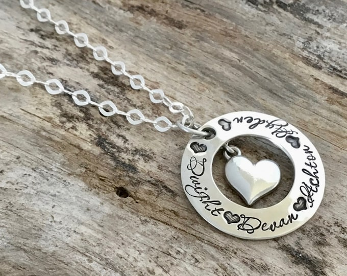 Heart name necklace| Personalized Mothers necklace |Personalized necklace| Hand Stamped Necklace| Sterling Silver Heart Jewelry |Mothers Day