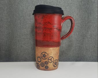 IN STOCK* Ceramic Travel mug / Commuter mug with silicone lid - Candy Red - Gears