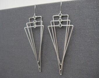 Art Deco Earrings - wedding statement triangle fan, silver long geometric jewelry, math teacher edgy earrings - Tiered Isosceles