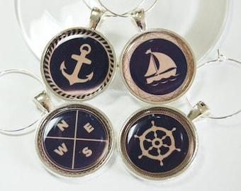 Sailing Wine Charms, Wine Glass Charms, Wine Charms, barware, Nautical Housewares, entertaining, table setting, Nautical, Navy, Tan (2634)