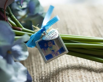 Something Blue Wedding Bouquet Photo Charm with silver charm- Memorial Photo Charm- PICTURE PRINTING INCLUDED