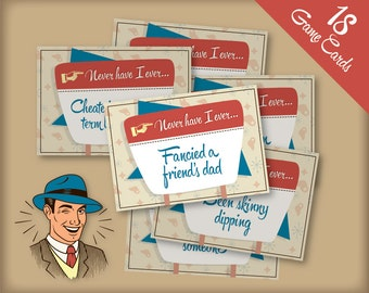 "Retro 1950s themed ""I Have Never"" printable Game Cards for Hen Party - vintage kitsch design, fun hen night game, instant download!"