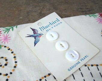 Vintage Bluebird Genuine Pearl Buttons on Original Card