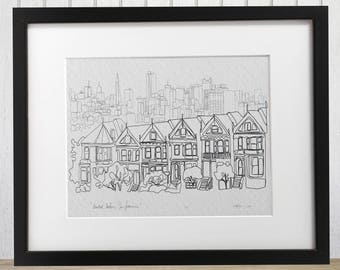 San Francisco Painted Ladies doodle print