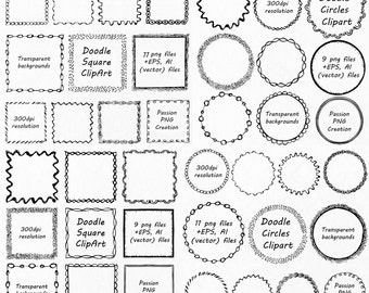 BIG SET! Doodle Frames clipart, Square and  round Frames, Doodle Clipart, Hand drawn Clip art, png, eps, Vector, Personal and Commercial Use